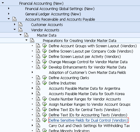 Define Sensitive Fields for Dual Control (Vendors