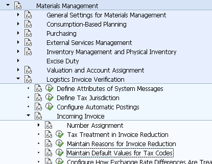 Maintain Default Values for Tax Codes   OMR2