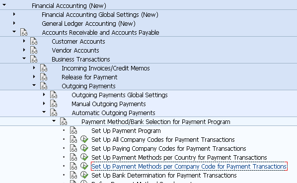 Set Up Payment Methods per Company Code for Payment