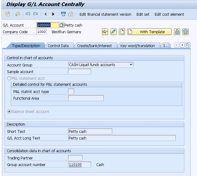Create G/L Account for Cash Journal | FS01