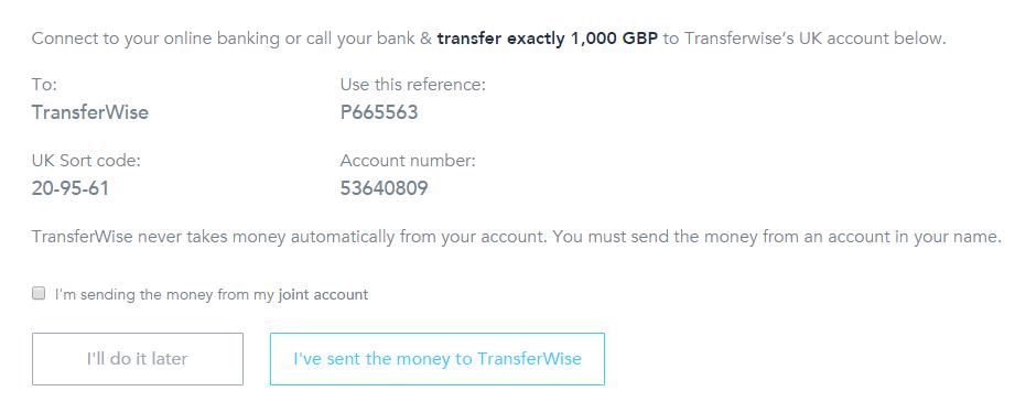 Transfer Bank Details