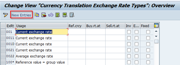 After New Entries On You Should Maintain The Exchange Rate Type With Related Options