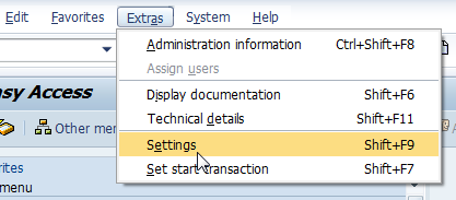 SAP Extras Settings menu