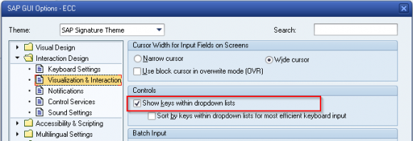 Show Drop-down Technical Keys in SAP ERP